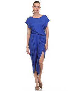 Fashion Secret Harem Summer Jumpsuit Romper Overalls (Large, Royal Blue)