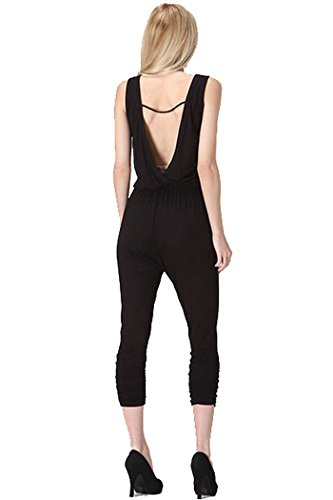 Fashion Secrets V Cut Back ,Round Neck Women Jumpsuit Romper Overalls