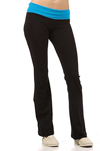 Fashion Secrets Women's Cotton Lycra With Contrast Color Waistband Yoga Pants - Fashion Secrets