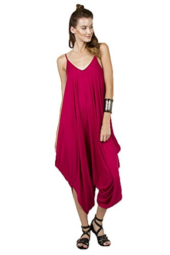 Solid Women Harem Overall Summer Spagehtti Straps Jumpsuit Romper (Large, Fuchia)