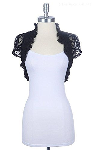Women's Short Sleeve Lace Smoked Shrug Bolero, Cropped Jacket Short Cardigan