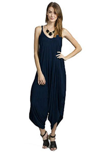 Love Solid Women Harem Overall Summer Jumpsuit Romper (Small, Navy)