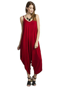 Solid Women Harem Overall Summer Spagehtti Straps Jumpsuit Romper (Medium, Red)