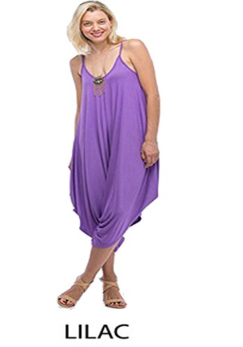 Fashion Secrets Solid Women Harem Overall Summer Spagehtti Straps Jumpsuit Romper (Small, Lilac)
