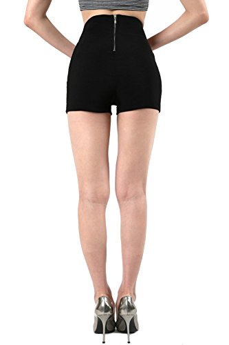 Fashion Secerts bengaline high waist 3 button / Elastic Waist back short