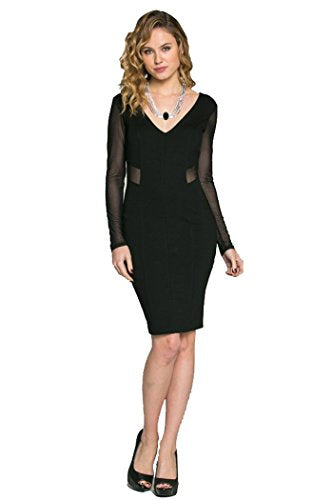 Fashion Secrets Bodycon Mesh Chiffon Long Sleeve Women Classy Dress