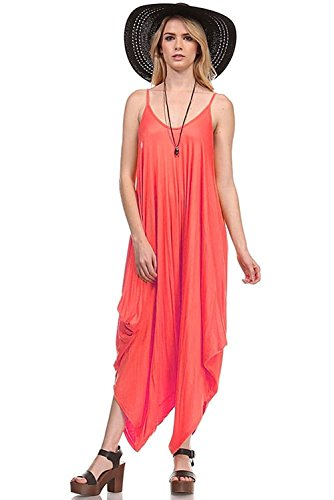 Fashion Secrets Solid Women Harem Overall Summer Spagehtti Straps Jumpsuit Romper (Small, Coral)
