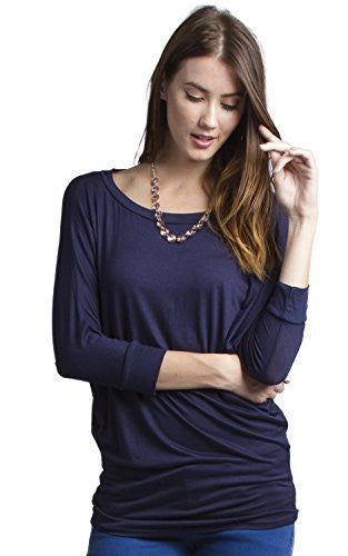 Women's 3/4 Dolman Sleeve Top Batwing Boatneck Blouse T Shirt - Fashion Secrets
