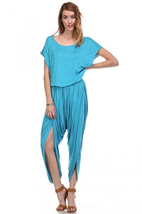 Fashion Secret Harem Summer Jumpsuit Romper Overalls (Large, Scuba Blue)