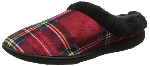 Dearfoams Women's Microfiber Velour CL Slipper, Red Plaid,Medium/7-8 M US
