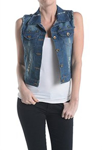 Sleeveless Washed Destroyed Denim Short Casual Vest Casual Jacket