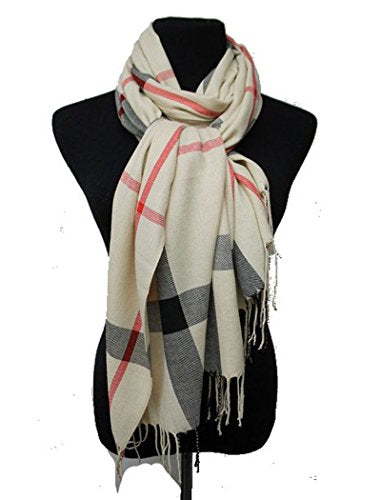 Fashion Secrets Classic Plaid Softness Oblong Scarf Wrap Shawl With Fray Trimming