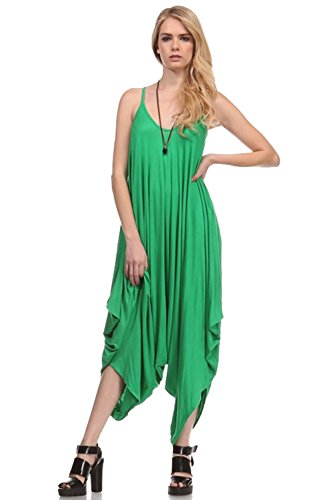 Solid Women Harem Overall Summer Jumpsuit Romper (Large, Kelly Green)