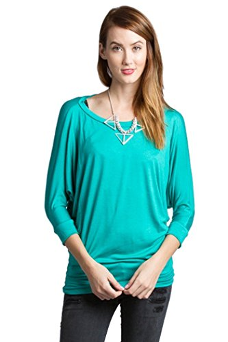 Fashion Secrets Women's 3/4 Dolman Sleeve Top Batwing Boatneck Blouse T Shirt