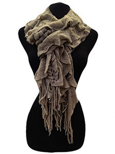 Fashion Secrets Women Fuzzy Ruffled Neck Warmer Scarf Shawl Wrap