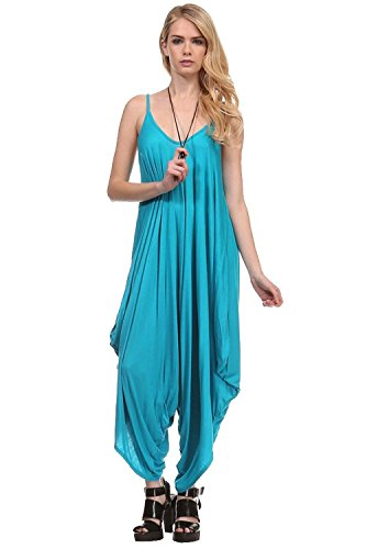 Love Solid Women Harem Overall Summer Spagehtti Straps Jumpsuit Romper (Medium, Scuba Blue)