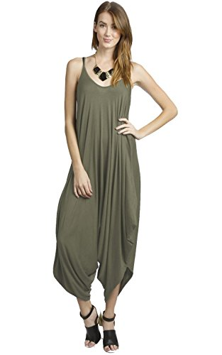 Solid Women Harem Overall Summer Spagehtti Straps Jumpsuit Romper (Small, Olive)
