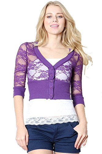 Fashion Secrets Juniors Closed Front 3/4 Sleeve Smoked Lace Bolero Shrug Cardigan