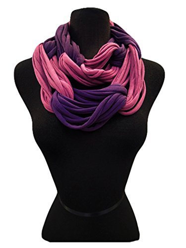 Fashion Secerts Two Tone Multi Loop Soft Infinity Scarf,Neck Warmer Wrap