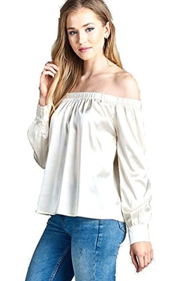 satin off shoulder top