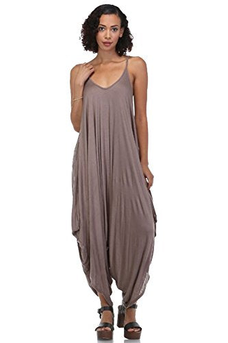 Solid Women Harem Overall Summer Spagehtti Straps Jumpsuit Romper (Large, Mocha)