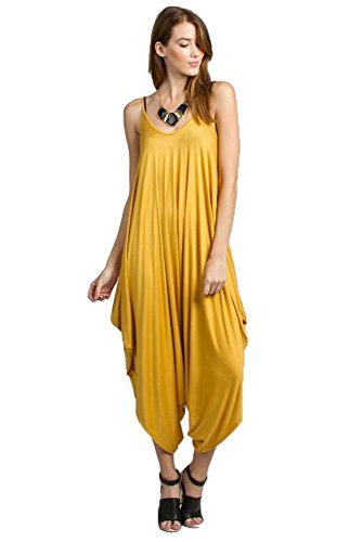 Love Solid Women Harem Overall Summer Spagehtti Straps Jumpsuit Romper (Medium, Mustard)