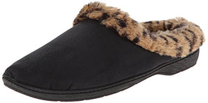 Dearfoams Women's Microsuede Leopard Trim Flat, Black, Small/5-6 M US