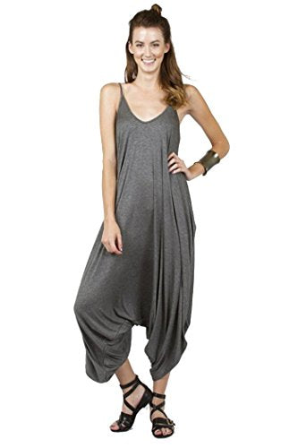 Love Solid Women Harem Overall Summer Spagehtti Straps Jumpsuit Romper (Small, Charcoal)