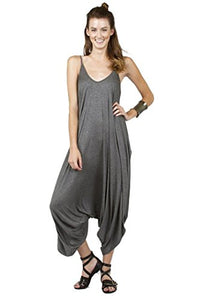 Love Solid Women Harem Overall Summer Spagehtti Straps Jumpsuit Romper (Medium, Charcoal)
