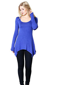 Fashion Secrets Women`s Shark Bite Hem, Scoop Round Neck Long Sleeve Top T Shirt