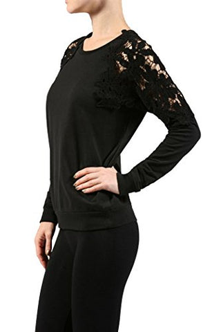 Fashion Secrets Women Crew French Terry Top W Crochet Trim