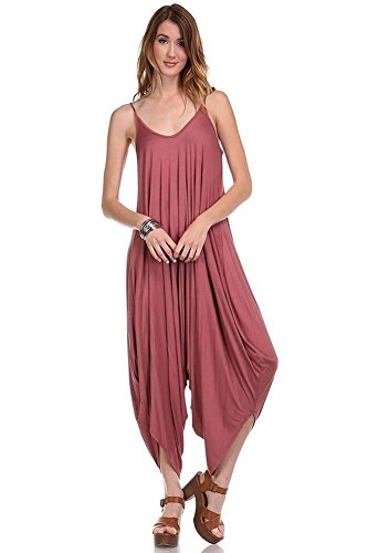 Love Solid Women Harem Overall Summer Jumpsuit Romper (Medium, Marsala)