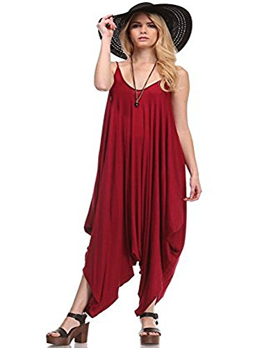Love Solid Women Harem Overall Summer Spagehtti Straps Jumpsuit Romper (Medium, Burgundy)