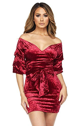 Fashion Secrets Juniors Elbow Red Blue Black Velvet Short V Cut Off Shoulder Waist Tie Night Dress