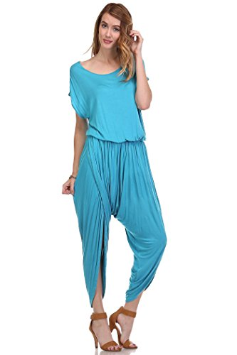 Fashion Secret Harem Summer Jumpsuit Romper Overalls (Small, Scuba Blue)