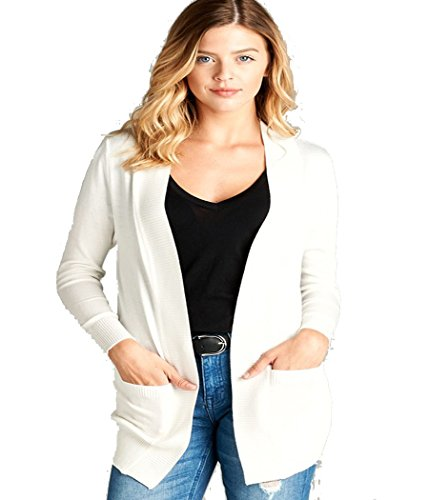 Fashion Secrets Long Sleeve Rib Banded Open Sweater Classic Knit Cardigan