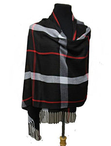 Fashion Secrets Plaid Design Super Softness Silk Pashmina Feel Shawls Scarf