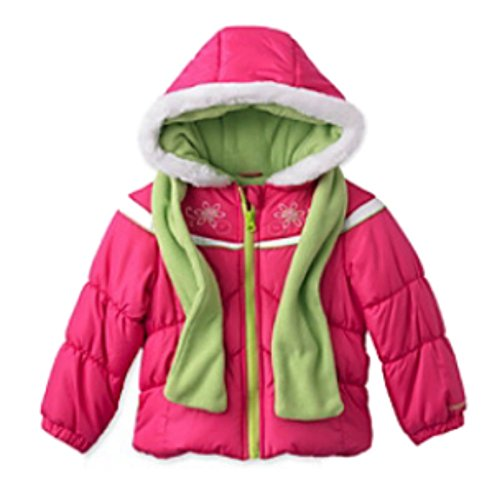 London Fog Girls Pink Winter Coat & Scarf Ski Jacket Set Size 4