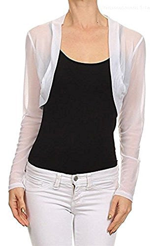 Fashion Secrets Women Long Sleeve Sheer Chiffon Sleeves Bolero Shrug Cardigan - Fashion Secrets