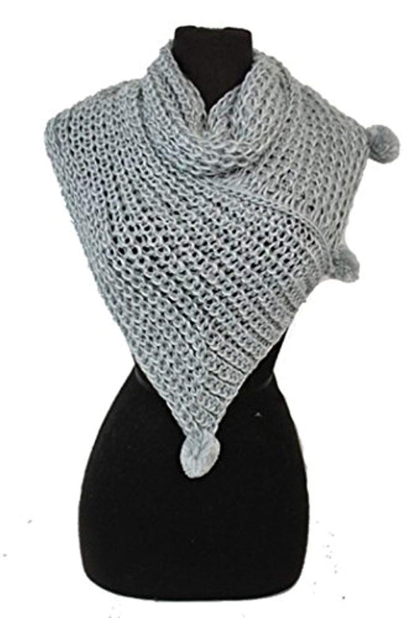 Triangle Design with Pom Pom Neck Warm Knitted Scarf