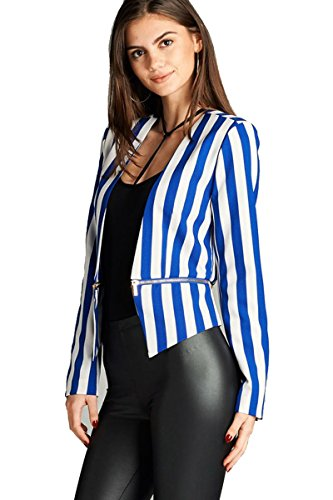 Fashion Secrets Women`s Collarless Open Front Stripe Blazer, Classic Formal Jacket W Zipper.