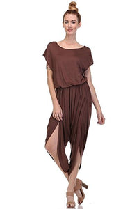 Fashion Secret Harem Summer Jumpsuit Romper Overalls (Large, Mocha)