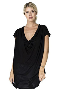 Fashion Secrets Women Cap Sleeve Cowl Neck Tunic Top .