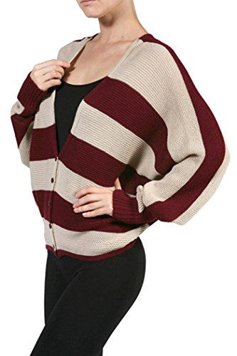 Fashion Secrets Knitted Striped Loose Sweater Cardigan