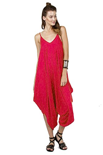 Love Solid Women Harem Overall Summer Spagehtti Straps Jumpsuit Romper (Small, Dark Coral)