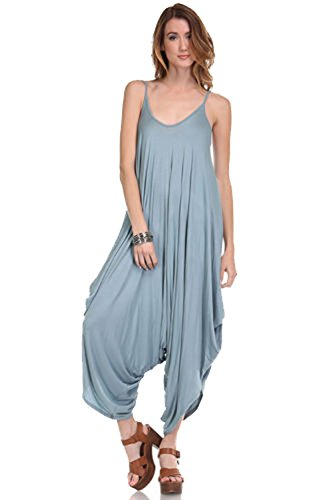 Solid Women Harem Overall Summer Jumpsuit Romper (Large, Dust Blue)