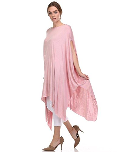 Fashion Secrets Women Oversized Tunic Top Loose T shirt Poncho Dress