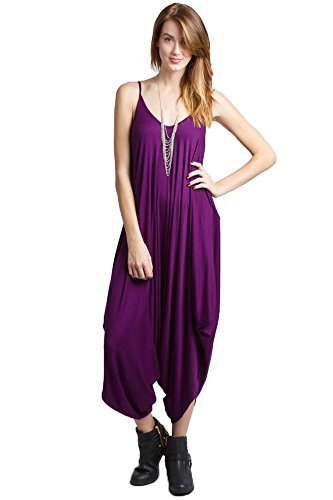 Solid Women Harem Overall Summer Spagehtti Straps Jumpsuit Romper (Large, Purple)