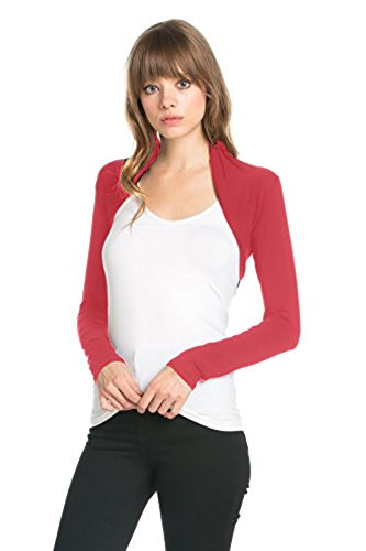 Fashion Secrets Women Long Sleeve Rayon Bolero Shrug Cropped Cardigan Jacket