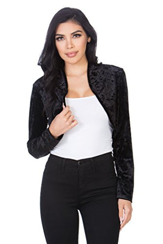 Fashion Secrets Women`s Collarless Open Front Velvet Bolero Shrug Cardigan Cropped Jacket